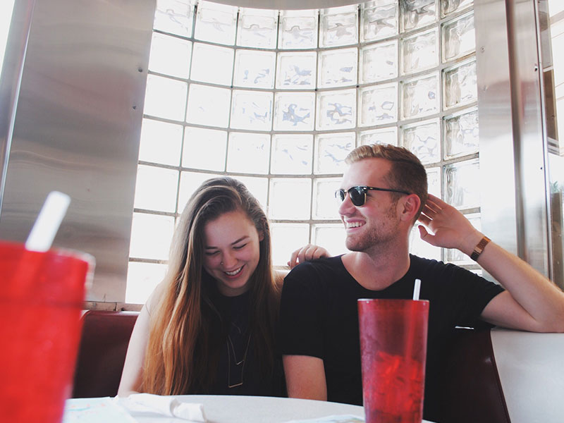two people who met online going on a date