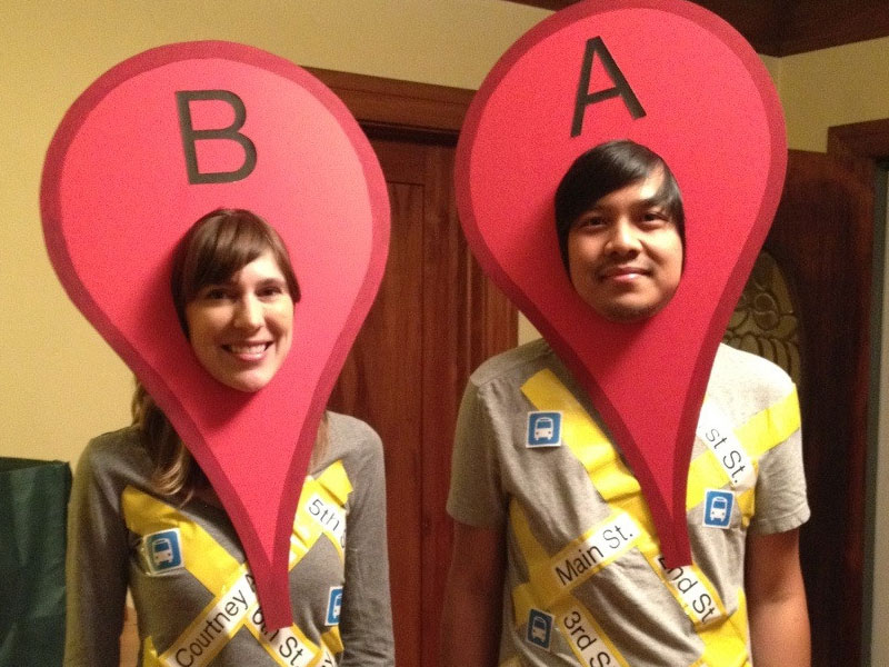 A couple dressed up like Google location finder.  sc 1 st  Zoosk : girl couples costumes  - Germanpascual.Com