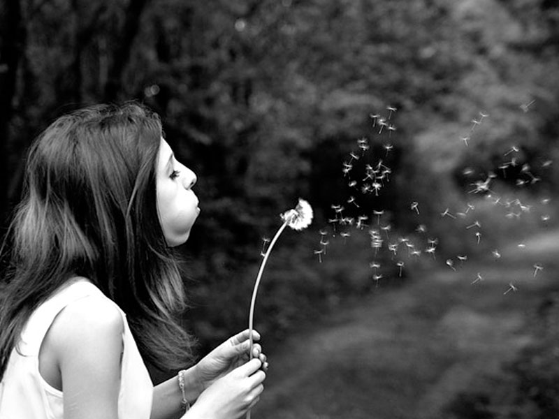 A woman making a wish on a dandelion.