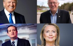2016 primary candidates Donald Trump, Bernie Sanders, Ted Cruz, and Hillary Clinton.