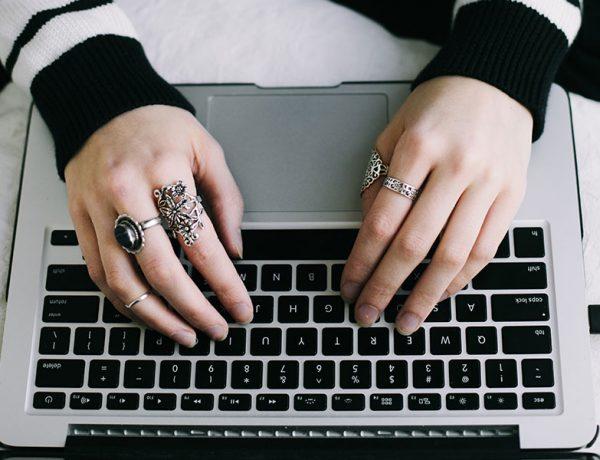 A woman stalking a guy online.