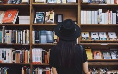 A girl who likes literary love stories looking for a book.