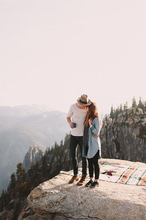 a couple on a mountain