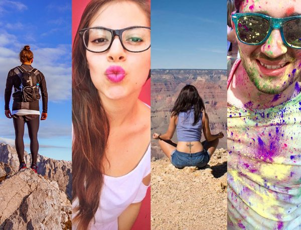 Four people who are online dating stereotypes. A guy on a mountain, girl making a kissy face, a girl doing a yoga pose, and a guy covered in paint.