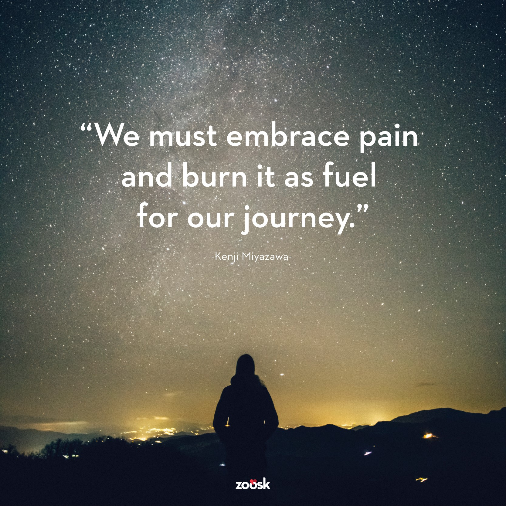"single parent quote ""We must embrace pain and burn it as fuel for our journey."""