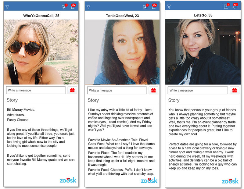 Three online dating profile examples for women in their 20s and 30s.