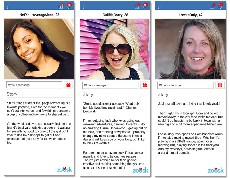Three online dating profile examples for women in their 20s, 30s, and 40s.