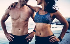 A strong, healthy couple exercising together.