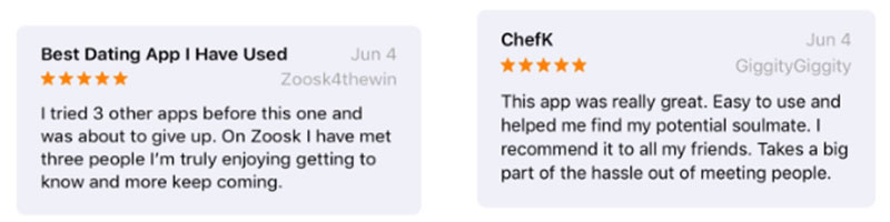 Two screenshots of the Zoosk reviews listed below.