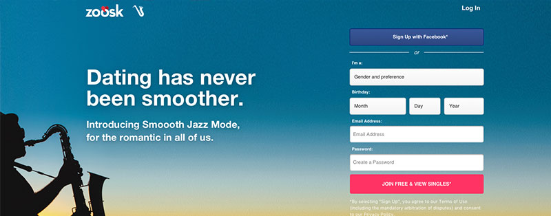 The homepage of Zoosk in Smooth Jazz Mode.