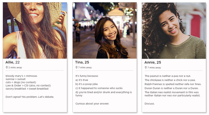 Three tinder profile examples for women in their 20s.