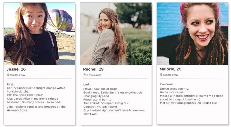Three Tinder profile examples for women.