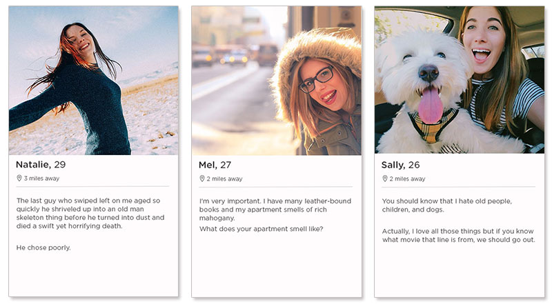 Three tinder dating profile examples for women.