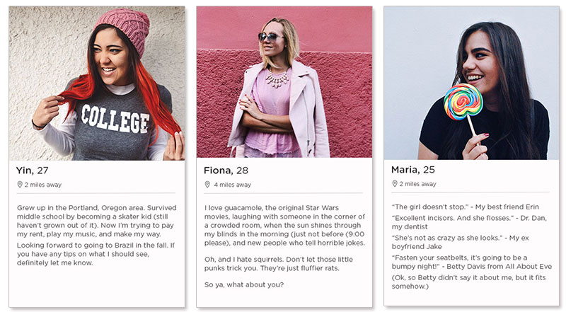The Tinder dating profile examples for women.