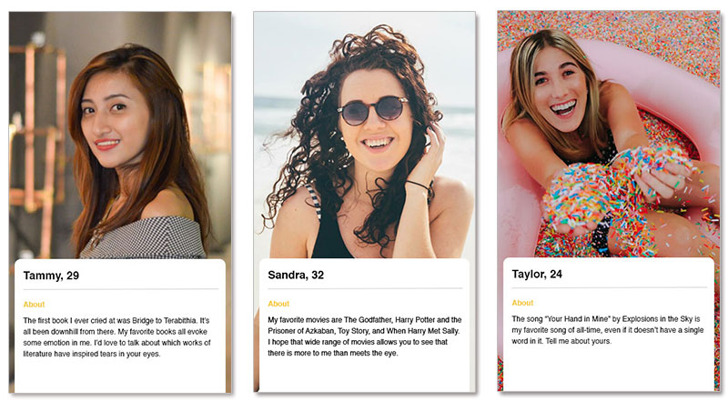 Online profile examples for ladies
