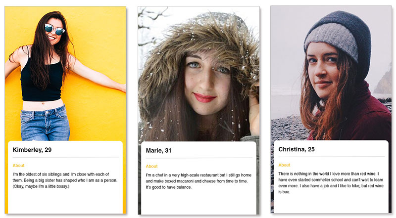 Three bumble profile examples for women in their 20s and 30s.