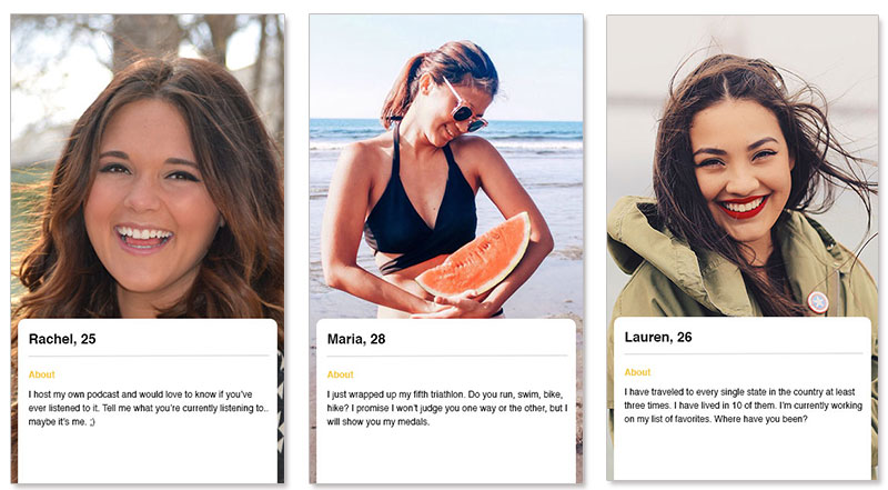 Three bumble profile examples for women dating on the bumble app.