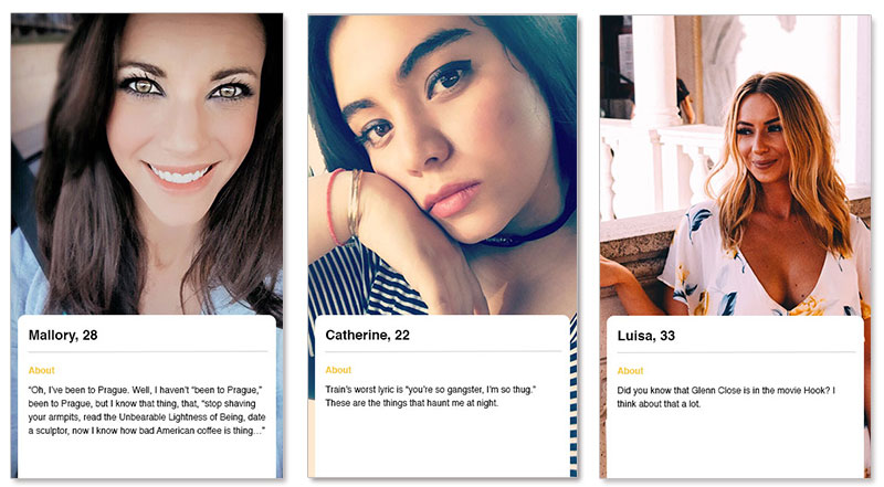Three bumble profile examples for women looking for someone on the bumble app.