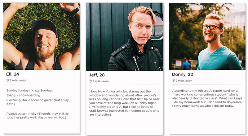 Three Tinder dating profile examples for men in their 20s.