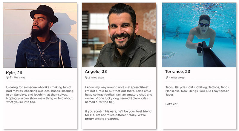 Three Tinder dating profile examples for men in their 20s and 30s who are dating on Tinder.
