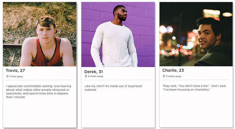 Three Tinder profile examples for men who are using Tinder.