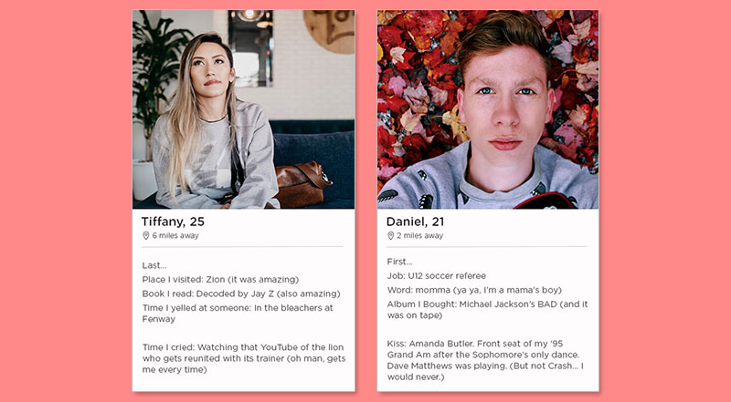 Two examples of the best Tinder bios.