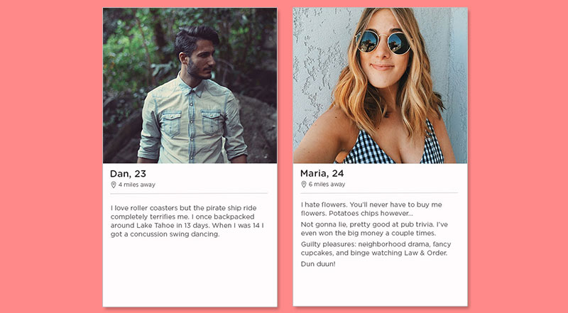 Two of the best Tinder bio examples for guys and girls.