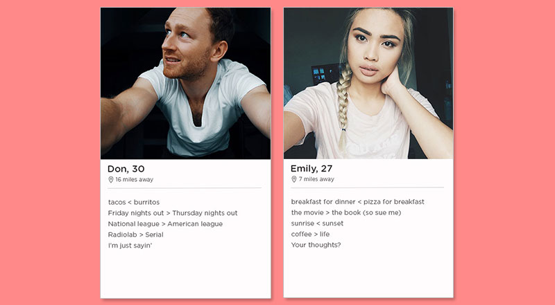 Two of the best Tinder bio examples for girls and guys using a new technique.