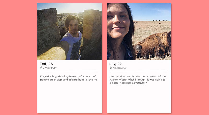 Two of the best Tinder bio examples, one for a guy and one for a girl.