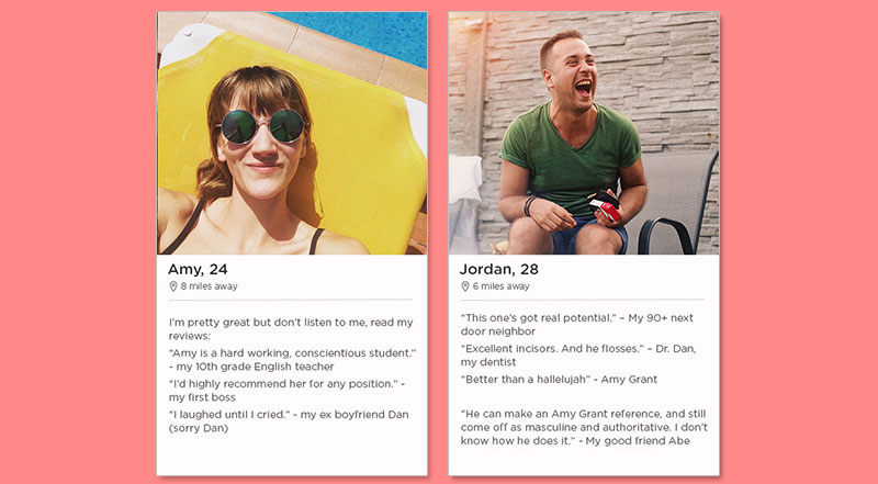 Two Tinder bio examples that show you how it's done.