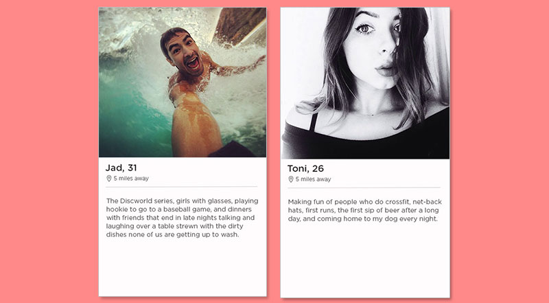 Two Tinder bio examples for a guy and a girl.
