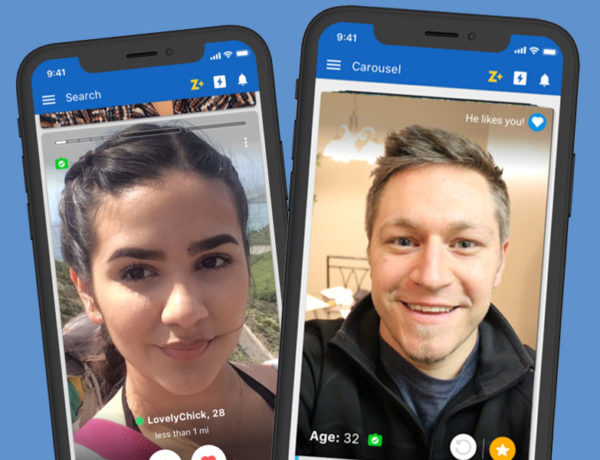 Two phones with the Zoosk app open showing two single people who signed up using the Zoosk free trial.