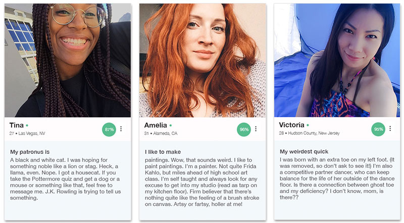 Three OkCupid profile examples for women that show how to write the prompts below.