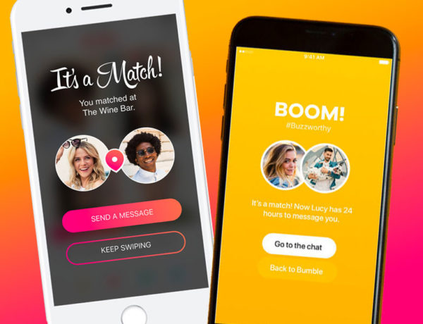 Two phones showing Bumble vs. Tinder: one has the Tinder It's a Match screen showing and the other has the Bumble BOOM screen showing.