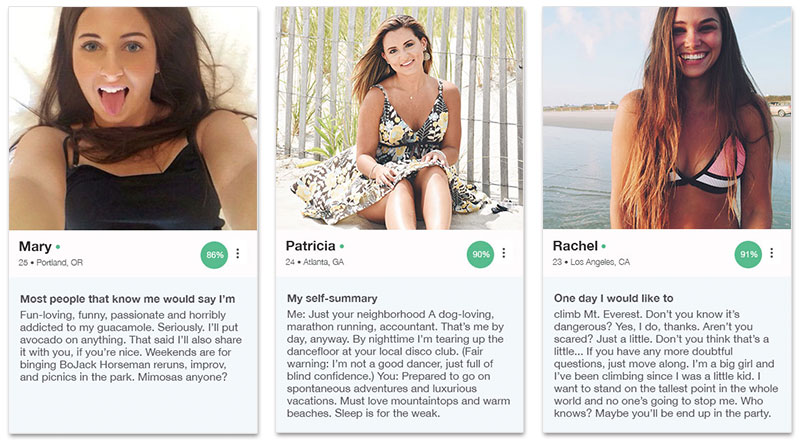 Three OkCupid profile examples for women that show you how to write the examples below.