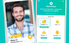 A man in the Bumble app who used Bumble SuperSwipe to show a woman that he really likes her.
