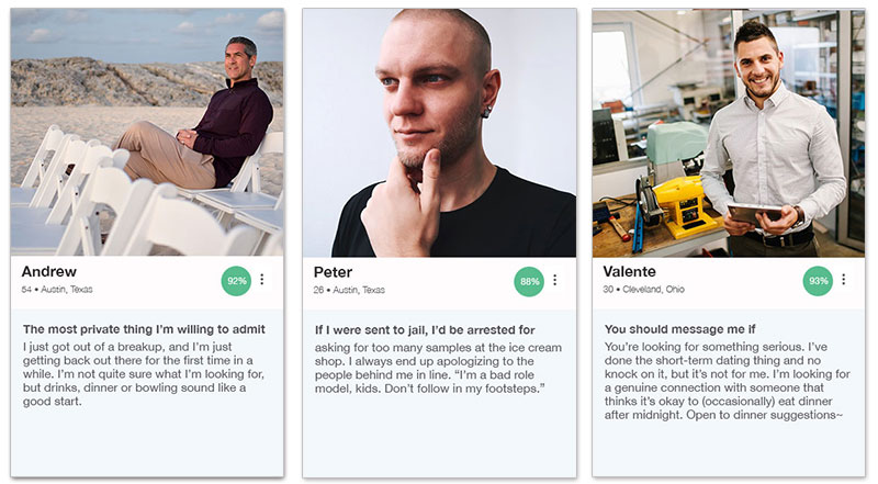 Three OkCupid profile examples for men with the descriptions below.
