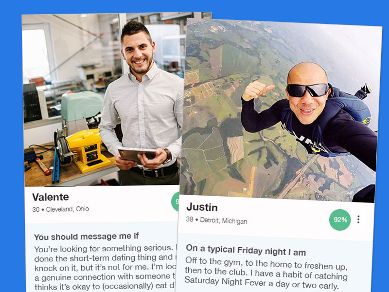 Two OkCupid profile examples for men in their 30s.