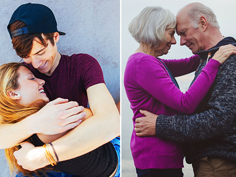 Two couples of different generations hugging each other.