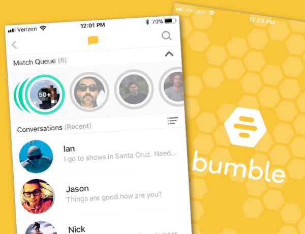 A screenshot of the Bumble match queue.