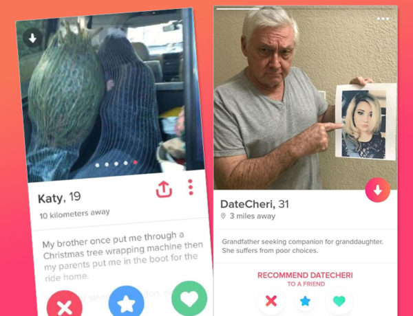Two screenshots of funny Tinder bios that are featured in this article.