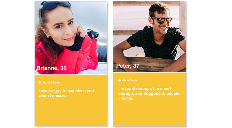 Two screenshots of some of the best bumble bios.