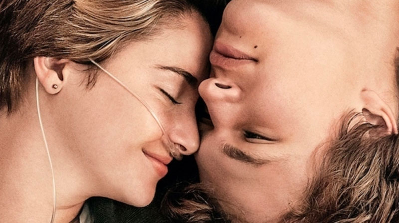 Augustus and Hazel from A Fault in Our Stars before he made his declaration of love, in the grass together with their eyes closed.