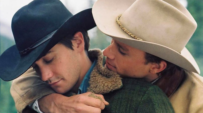 Jack and Ennis from Brokeback Mountain hugging before Jack's declaration of love.