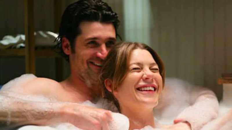Meredith and Derek in a bathtub after she declared her love for him.