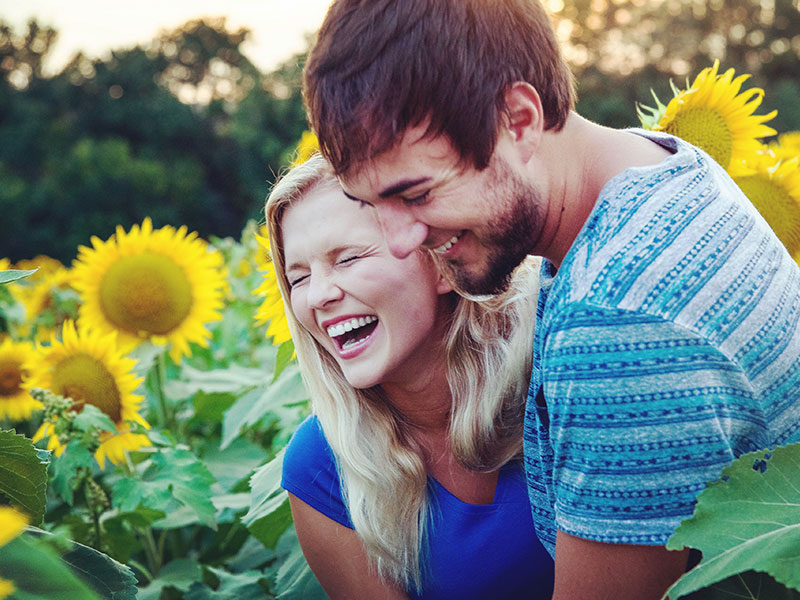 A couple in a honeymoon period laughing in a field of sunflowers together.