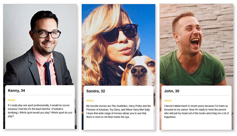 Three dating profile examples from the dating app Bumble.