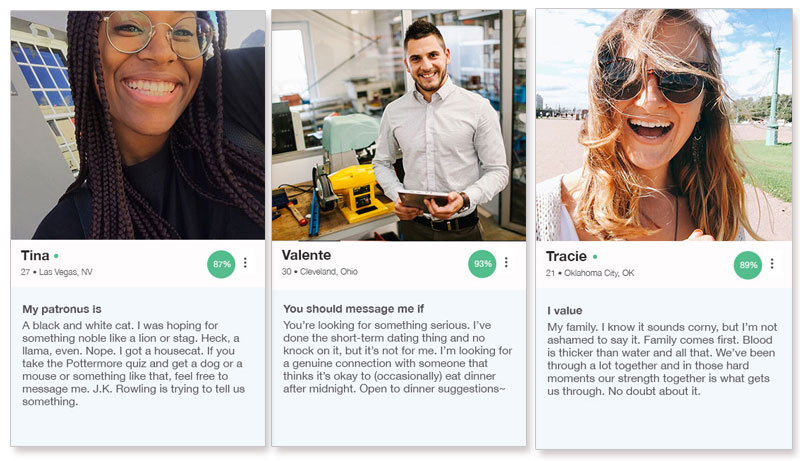 Three dating profile examples from the OkCupid app.
