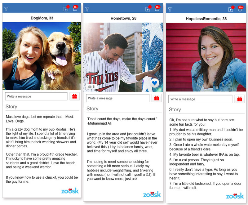 Three dating profile examples from the dating app Zoosk.