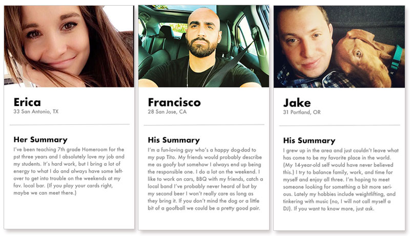 Three dating profile examples from the Match dating app.
